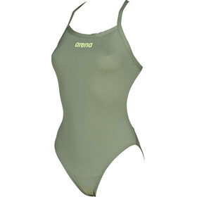 arena Solid Light Tech High One Piece Swimsuit Dames, army-shiny green